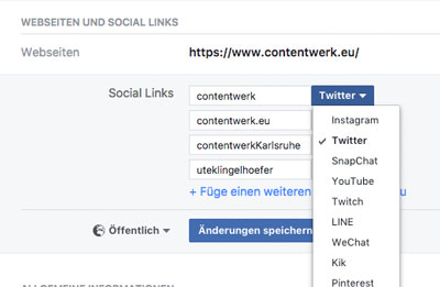 instagram und Twitter-Link im Facebook-Profil angeben