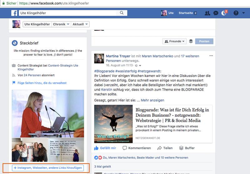 Website Link im privaten Facebook Profil