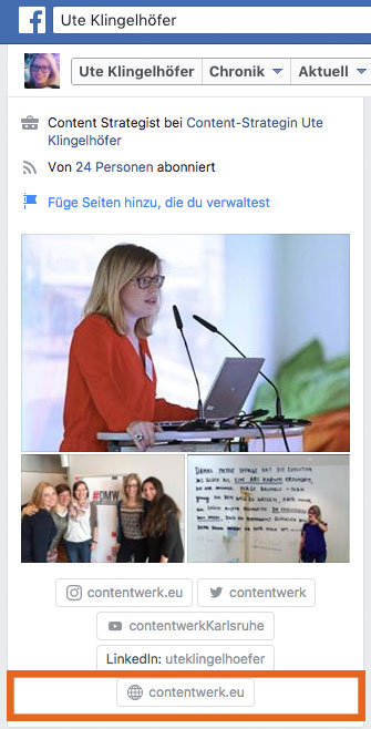 Website im Facebook-Profil verlinken