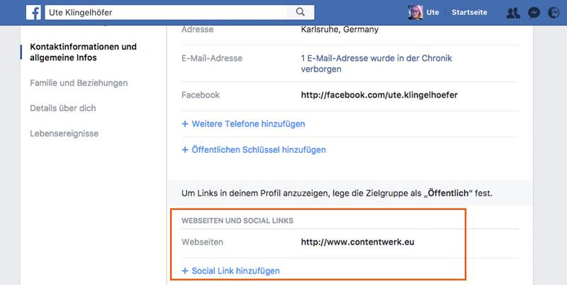 Webseiten auf privater Facebook-Seite angeben